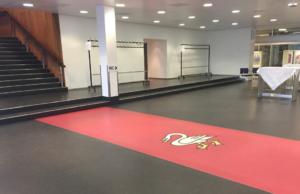 Gemeindesaal – Bodenbelag mit Schwan-Intarsie