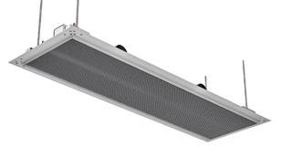 Beim DIKAL ist der Wärmeübertrager mit gefrästen Design-Aluminiumrippen ausgeführt. Das Gerät fügt sich dezent in das Raumdesign ein. Hier als Varian-te mit Anputzrahmen für Gipsdecken.